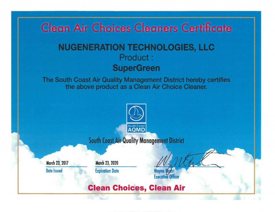 clean air choices cleaners certification