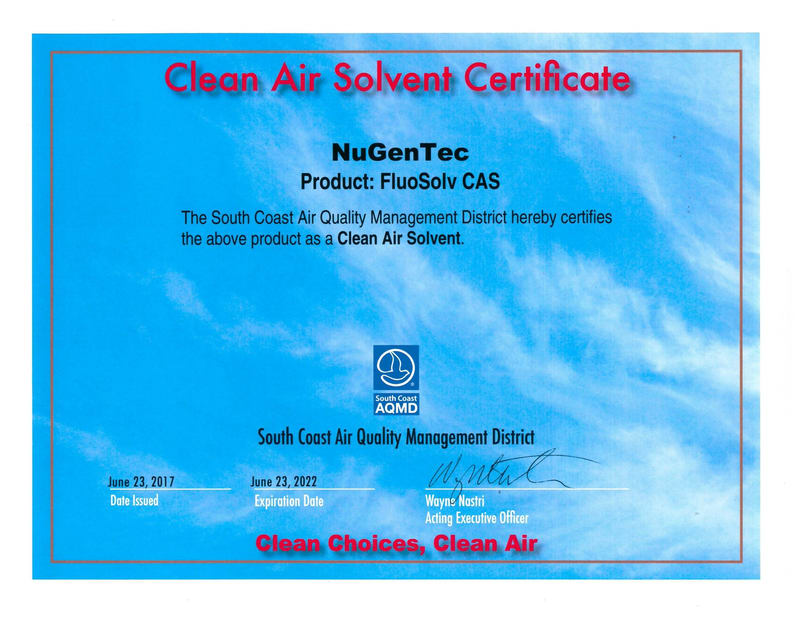 Clean Air Solvent Certification